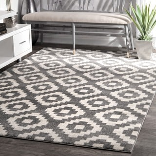 nuLOOM Power-Loomed Geometric Abstract Fancy Pixel Trellis Grey Rug (7'10 x 11'2)