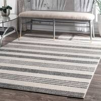 Havenside Home Butler Power-Loomed Stripes Grey Rug - 7'10 x 11'2
