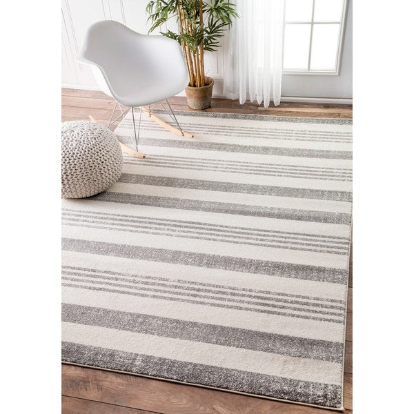 Nuloom Power Loomed Geometric Stripes Grey Rug 7 10 X 11