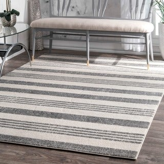 nuLOOM Power-Loomed Geometric Stripes Grey Rug (5'3 x 7'7)