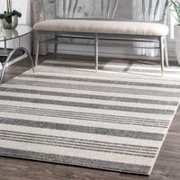Havenside Home Butler Power-Loomed Geometric Stripes Grey Rug (5'3 x 7'7)