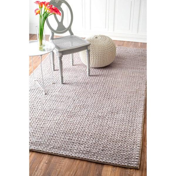 Nuloom Handmade Casual Braided Wool Light Grey Rug 3 X 5
