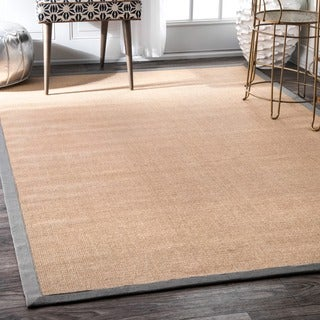 Handmade Alexa Eco Natural Fiber Cotton Border Grey Jute Rug (9' x 12')