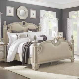 Ellina Washed White Finish European-Style Upholstered Bed