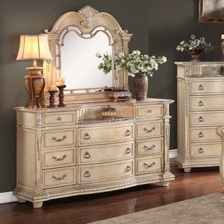 TRIBECCA HOME Tusca Traditional Weathered White Finish Dresser and Mirror
