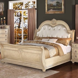 TRIBECCA HOME Tusca Traditional Weathered White Finish Button-Tufted Upholstered Bed