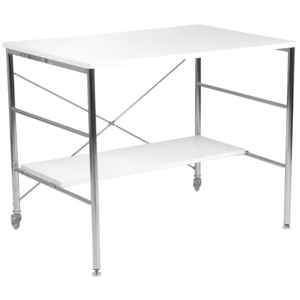 Ida White Lacquer Chrome Desk - Free Shipping Today - Overstock.com