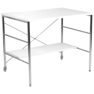 Ida White Lacquer Chrome Desk