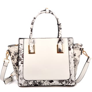 Dasein Floral Design Winged Saffiano Studded Satchel