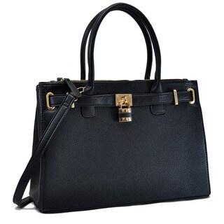 Dasein Faux Leather Padlock Double Zipper Satchel Handbag
