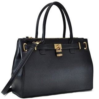 Dasein Faux Leather Padlock Double Zipper Satchel Handbag
