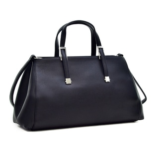 Dasein Faux Leather Small Classic Satchel Handbag