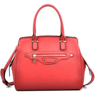 Dasein Saffiano Leather Medium Satchel with Shoulder Strap