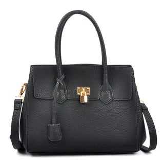 Dasein Kiss Lock Compartment Padlock Satchel with Shoulder Strap