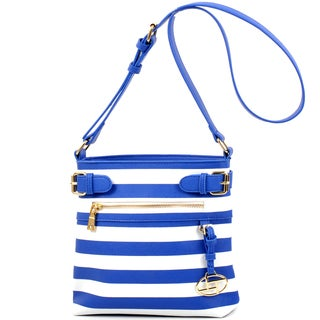Dasein Faux Leather Striped Buckled Messager Bag