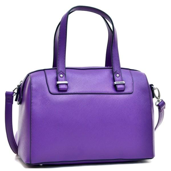 Dasein Faux Leather Barrel Body Satchel Handbag with Removable Shoulder Strap