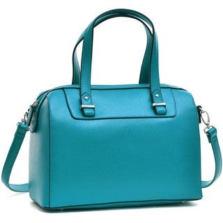 Dasein Faux Leather Barrel Body Satchel Handbag with Removable Shoulder Strap