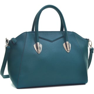 Dasein Faux Leather Weekender Satchel with Removable Strap