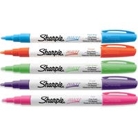 Sharpie Oil-Based Paint Markers, Fine Point, Assorted Fashion Colors, Pack of 5