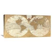 Global Gallery Joannoo 'Gilded World Hemispheres I' Stretch Canvas Artwork