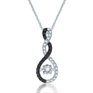 Unending Love 10k White Gold Diamond Accent Black and White Twisted Infinity Movement Pendant