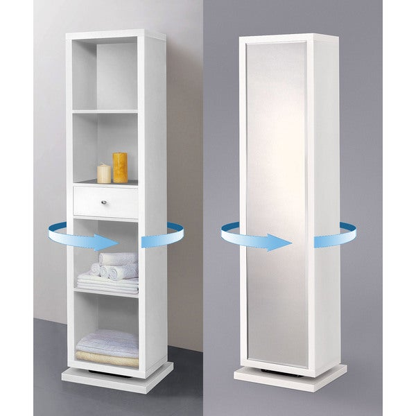 Artiva Usa Bella Home Deluxe 71 Inch White Full Length Mirror And Swivel Cabinet Shelving Unit