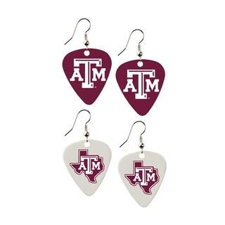 Texas AandM Aggies NCAA Guitar Pick Dangle Earrings Charm Gift (Set of 2)