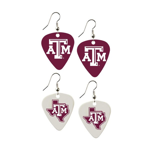 Texas AandM Aggies NCAA Guitar Pick Dangle Earrings Charm Gift (Set of 2)