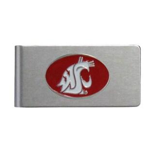 Washington State Cougars Sports Team Logo Brushed Metal Money Clip