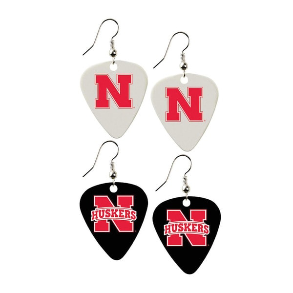 Nebraska Cornhuskers NCAA Guitar Pick Dangle Earrings Charm Gift (Set of 2)