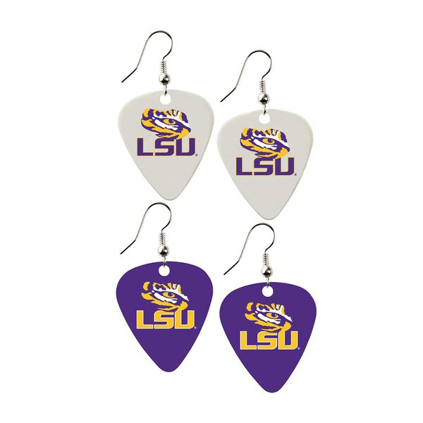 LSU Tigers NCAA Guitar Pick Dangle Earrings Charm Gift (Set of 2)