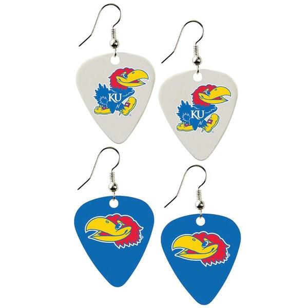 Kansas Jayhawks NCAA Guitar Pick Dangle Earrings Charm Gift (Set of 2)