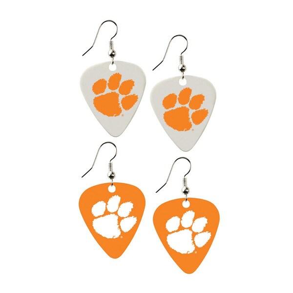 Clemson Tigers NCAA Guitar Pick Dangle Earrings Charm Gift (Set of 2)