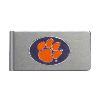 Clemson Tigers Sports Team Logo Brushed Metal Money Clip