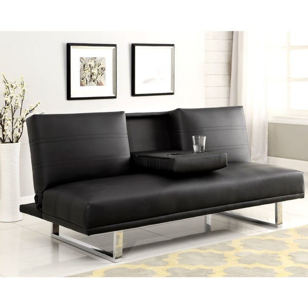 Galaxy Mid Century Sleek Black Sofa Bed With Drop Down Center Console