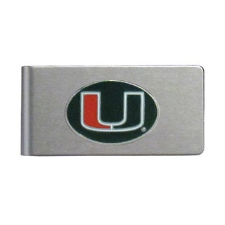 Miami Hurricanes Sports Team Logo Brushed Metal Money Clip