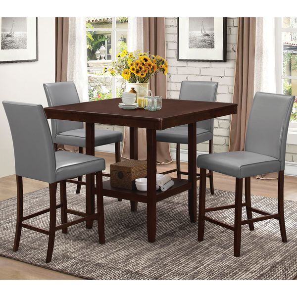 Medlin Contemporary Espresso 5 Piece Grey Upholstered Counter Height Dining  Set