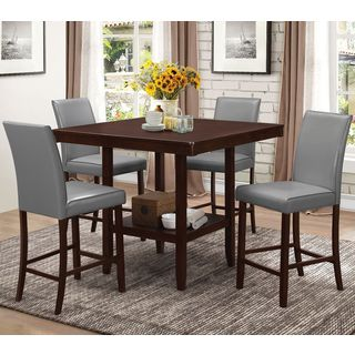 Medlin Contemporary Espresso 5-piece Grey Upholstered Counter Height Dining Set