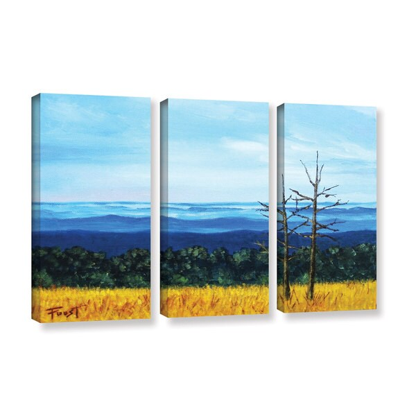 ArtWall 'Gene Foust's Serene Mountain Tops' 3-piece Gallery Wrapped Canvas Set