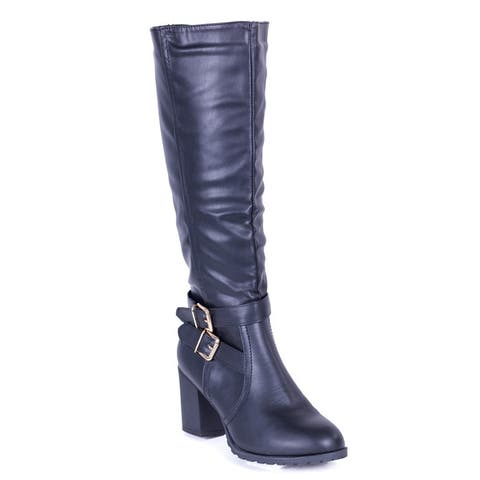 Womens Double Buckle Tall Boots