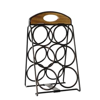 Foldable 6 Bottle Wine Rack W Antique Black Finish