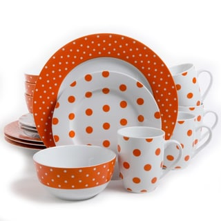 Gibsons Isaac Mizrahi Dot Luxe 16-piece Orange Porcelain Dinnerware Set