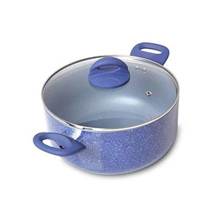 Gibson Home Summerhaven Whitford Blue Non-Stick Dutch Oven with Lid, 5 Quart