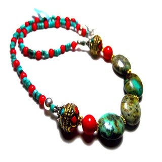 Vermeil Nepalese Turquoise Coral Sterling Silver Choker Necklaces