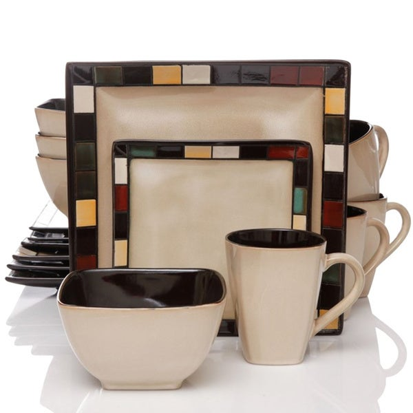 Better Homes And Gardens Mosaic Tile Square 16 Piece Dinnerware Set