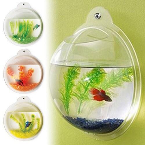 Vandue Deluxe Acrylic Wall Mounted Bubble Fish Tank (Fish...