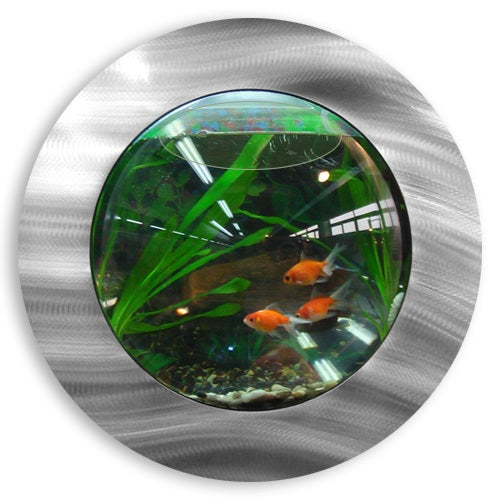 Vandue Deluxe Wall Mounted Brushed Aluminum Bubble Fish T...