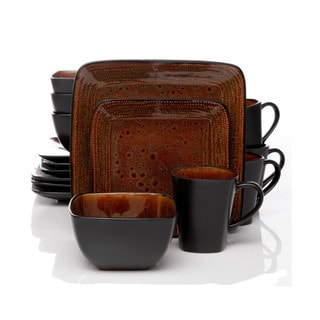 Atlas Textured Brown and Black 16-piece Dinnerware Set (Service for 4)