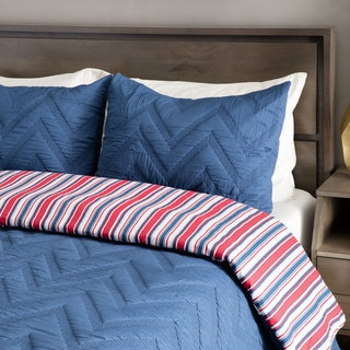 Andrew Charles All American Collection Navy Chevron Pattern Cotton Sham