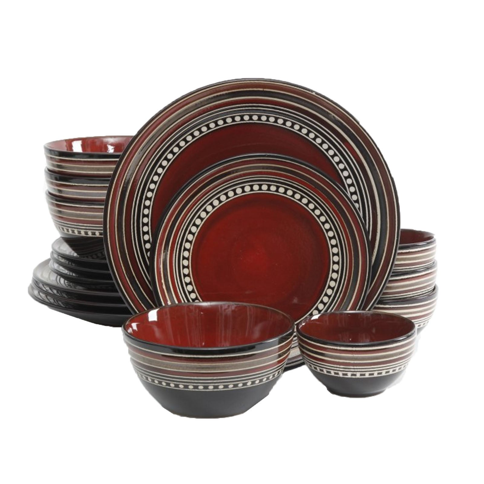 Gibson Elite Cafe Versailles 16-piece Double Bowl Red Din...